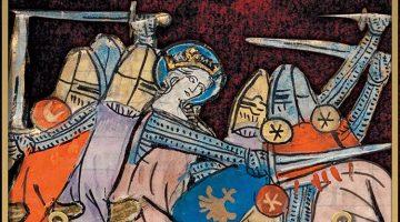 Armoured queen fighting helmeted men in battle