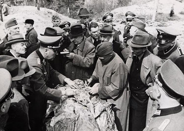 Exhumed victims at Katyn, 1943