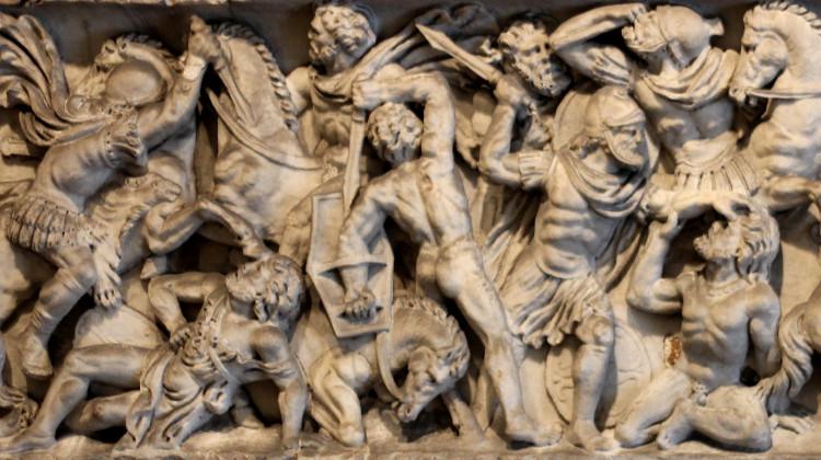Battle scene, part of a Roman sarcophagus