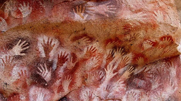 Painted hands at the Cuevas de las Manos in Santa Cruz Province, Argentina