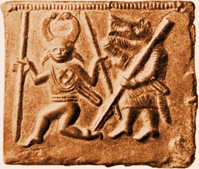 Torslunda helmet plate showing figures interpreted as Odin and a wolf-man or Úlfhéðinn