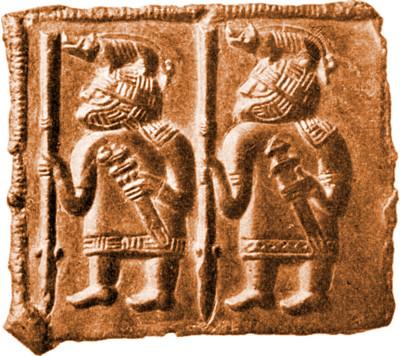Torslunda helmet plate showing two warriors with boar helmets
