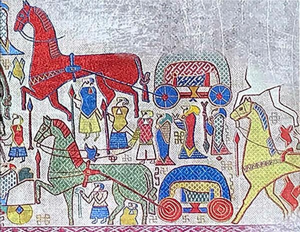 Norse horses, Oseberg Tapestry
