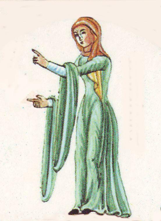 Figure of Dialetica from Philosophia et septem artes liberales in Hortus Deliciarum by Herrad of Landsberg, c1180