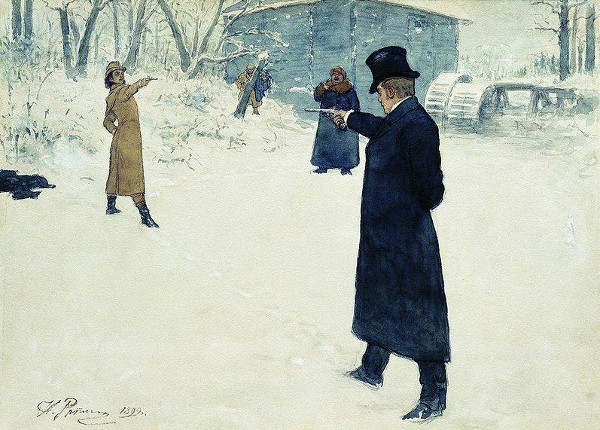 Eugene Onegin and Vladimir Lensky's duel by Ilya Repin