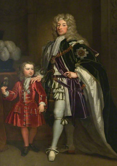 John Erskine, Earl of Mar, with his son Thomas by Godfrey Kneller, probably c1715
