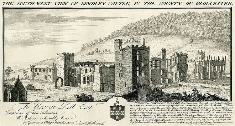 The South West View of Sewdley Castle in the County of Gloucester by Samuel and Nathaniel Buck