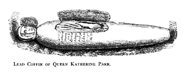 Illustration of the opening of Katherine Parr's coffin in 1782. From the Annals of Winchcombe & Sudeley by Emma Dent, published 1877