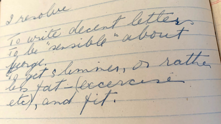 Mary King's diary, 1944 (provided by Cecily Blench)