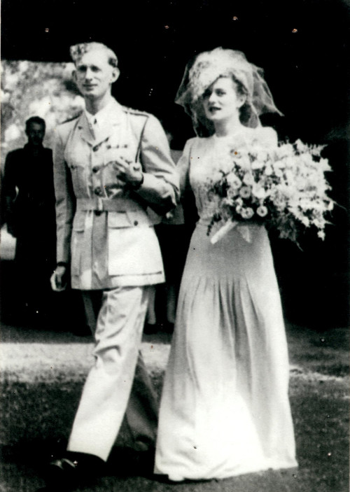 Photograph of Mary and Ronald Norman at their wedding: supplied by Cecily Blench