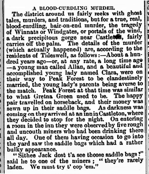 Newspaper story about the Winnats Pass murder: Leigh Chronicle and Weekly District Advertiser, 13 July 1888
