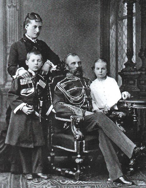 Tsar Alexander II and Princess Catherine Dolgorukova with their children George and Olga