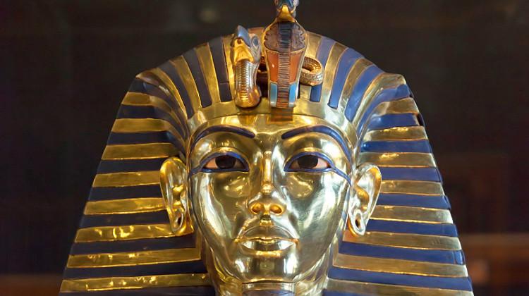 The mask of Tutankhamun, c1327 BC: Egyptian Museum, Cairo; photo by Roland Unger