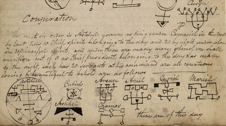 Detail of Henry Harries's transcription of Theurgia-Goetia from John Harries' Book of Incantations